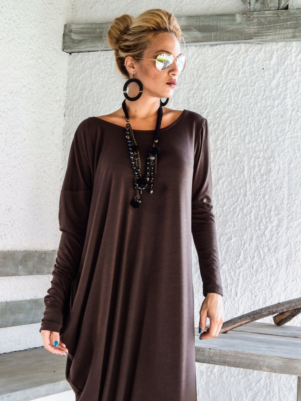 Braun Maxi Langarm Kleid / Kaftan braun / Assymetrischer Plus