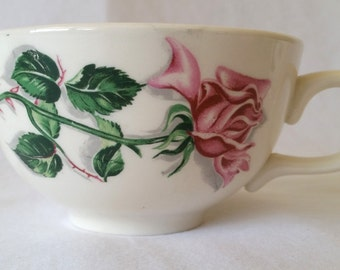 Beautiful set of 5 vintage 1950s mid-century tea cups with a rose on its branch (transferware)
