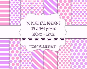 Digital Paper Pack - 12x12 - 300dpi - Tiny Ballerina's / Pink & Purple - INSTANT DOWNLOAD