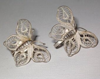 Antique Sterling Silver Filigree Butterfly Earrings