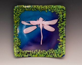 "Dragonfly Glass Dish, 6"" Glass Plate, Fused Glass Dish, Dragonfly Plate, Dragonfly Dish"