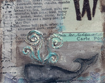 Whale Mixed Media - 6x6, 8x8 and 12x12 Print of Original