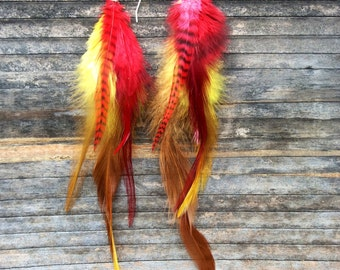 Brightly Colored Feather Earrings