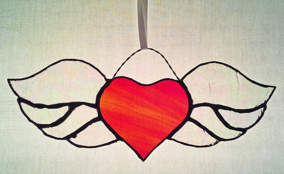 Winged Heart Stained Glass Sun Catcher by PinwheelStainedGlass - photo#16