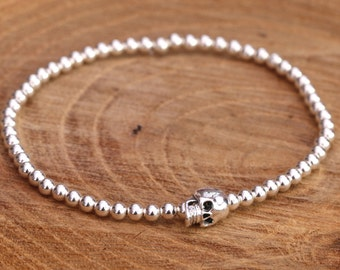 Sterling Silver Beaded Bracelet, Stretchy Bracelet, Sterling Silver Skull Bracelet, Silver Skull Bracelet, Skull Bracelet, Gift for Her