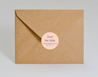 Wedding Stickers Save The Date Personalised stickers envelope seals. Initials monogram in bunting ST02