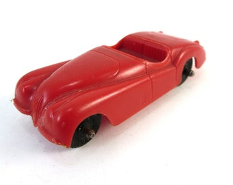 Vintage Tootsietoy Red Plastic Jaguar XK120 Roadster Car Toy Made In U.S.A. XK 120 Convertible Matchbox
