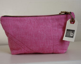 Pink Chambray Zippered Pouch