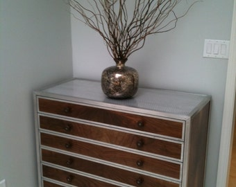 Walnut and metal credenza/dresser