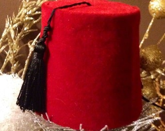 Red Velvet Mini Fez Hat And Bow Tie, New Year's Eve Hat, Men's Party Hat, Bachelor party Hat, Doctor Who Hat