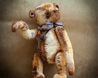 "Creepy Teddy bear in vintage retro style 11.8"" inch OOAK"