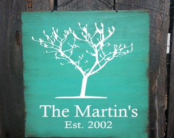 personalized family tree sign, personalized family name sign, established sign, established decor, personalized established sign