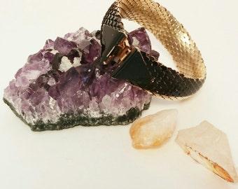 "Black and Gold ""Snake Skin"" Geometric Metallic Bracelet Bangle Hook Closure Triangle Vintage 1980's Bracelet"