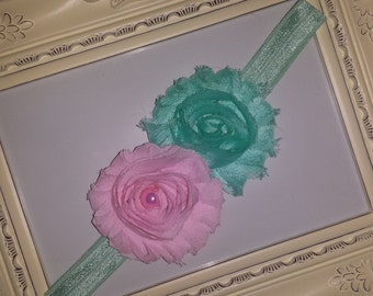 Baby Pink and Seafoam Green Shabby Headband