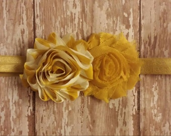 Striped Mustard Yellow Double Shabby Headband