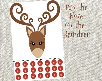 Pin The Nose On The Reindeer! Instant Digital Download. Christmas Party Game. Reindeer Games.