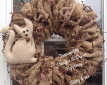 Burlap wreath primitive wreath country kitty with gingham ties and pip berries