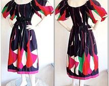Vintage Victor Costa Neiman Marcus Puff Sleeve Dress / Avant Garde Boho Abstract Op-Art Dress / 1990s Salsa Bombshell Dress Sex and the City