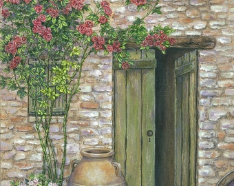 Italian Cottage painting, cozy cottage art, Italy, roses, flowers, home decor, wall art, flower wall art, stone cottage, rose themed decor,