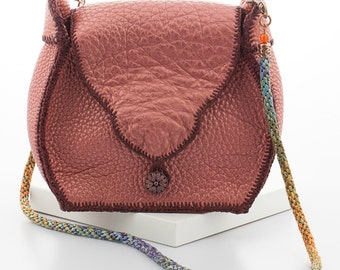Handcrafted Dusty Pink Leather Handbag