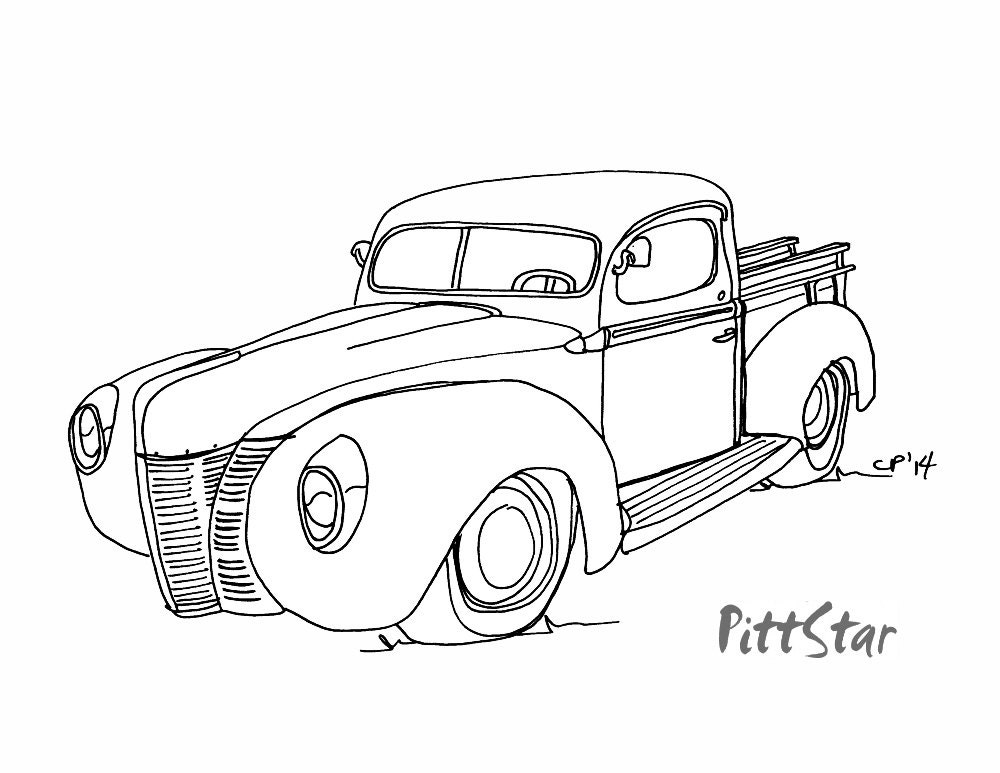 Line Art Truck : Instant download vintage s ford pickup truck by pittstar