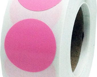 500 Pink Dot Stickers - 0.75 Inch Round Adhesive Labels