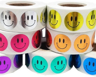 3,500 Shiny Metallic Smiley Happy Face Stickers Bulk Pack - 0.75 Inch Round