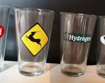 Set of 4 Phish Pint Glasses - Antelope Harry Hood YEM Hydrogen - Dishwasher Safe - Baker's Dozen - MSG