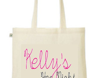 Personalsied you name date hen night party  printed tote/shopper bag - wedding married hen night party