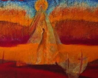 The Desert Place.  Original Christian Art Collage.  Large Wall Art