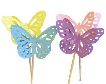 Butterfly Cupcake Toppers, summer wedding decorations, Ready in 3-5 Weekdays, 12 Pack, bridal shower