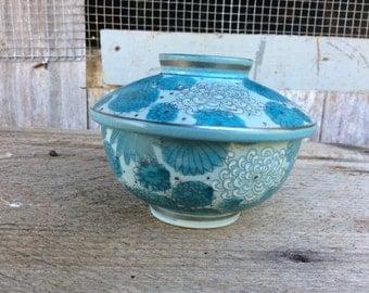 Blue and silver chrysanthemum lidded bowl Kutani Japan
