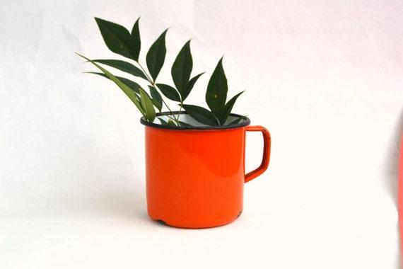 Vintage Orange Enamel Tin Mug, Camping, Enamelware