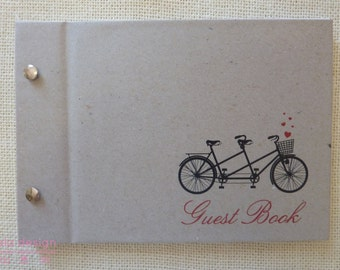 """Guest Book A5 """"Tandem Bike"""" for Weddings, Engagements, Birthdays"""