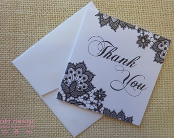 Black Lace Thank You Greeting Card 10 Pack