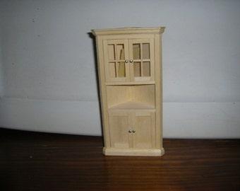 Unfinished Handmade Wood Kitchen Or Parlor Corner Cabinet