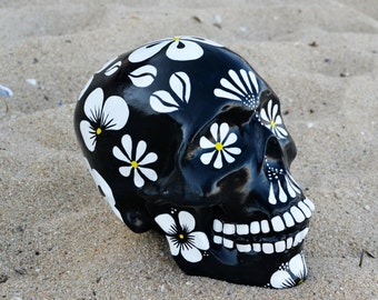 Sugar Skull Day of the Dead HandMade Sugar Skulls Ceramic Skull Mexican Skull Flower MADE TO ORDER