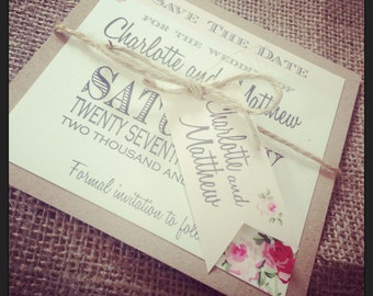 1 Vintage/Shabby Chic Style 'Charlotte' save the date card with twine & tag and envelope