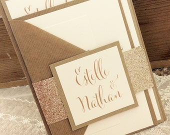 1 Rustic/Gold Glitter 'Estelle' Wedding Invitation/RSVP/Wish card sample
