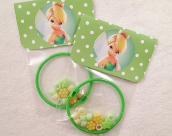 8 -  Tinkerbell Birthday or Slumber Party Favor 6 inch DIY Bracelet Kits - Set of 8