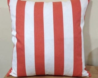 Medallion Stripe Coral Feather Cushion