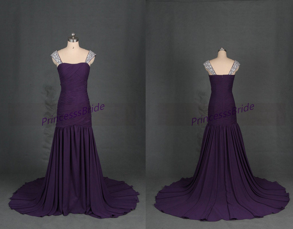 Long eggplant chiffon bridesmaid gowns with beaded