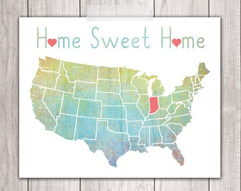 Home Sweet Home - 8x10 Indiana Print, Art Print, Home Decor, Printable Home Decor, Indiana Printable, Printable Art