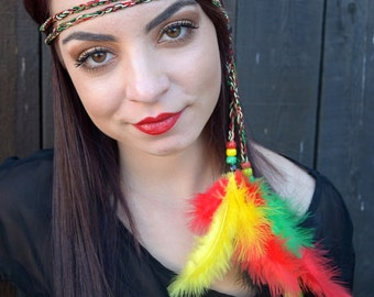 Rasta Feather Headband - Hippie Headband - Rastafarian - Reggae Headband - Boho - Bohemian -  Costume Accessories