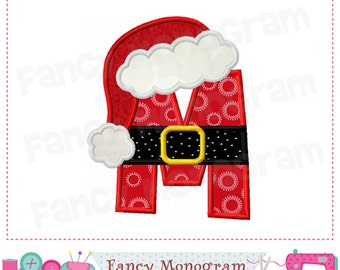 christmas monogram m applique santa claus letter m applique font m appliquem