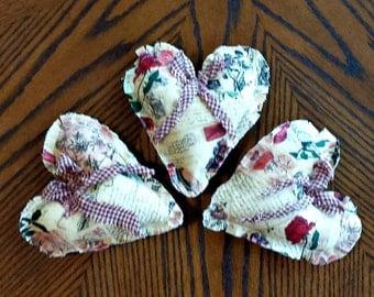 Three Country Primitive Heart Bowl Fillers - Ornaments - Tucks - Shabby Chic - Handmade - OFG, FAAP, HAFAIR, TeamHaHa