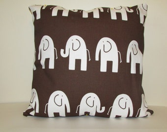 Brown Pillow Cover With  White Elephants, Elephant  Accent Pillow For Nursery