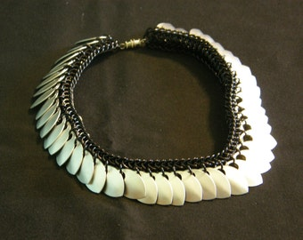 Chainmail Choker Necklace, Black and Frost Dragonscale, Ready to Order