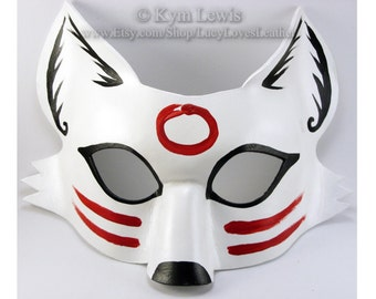 Light Trickster Fox,  White Sumi-e Mask, Kitsune Spirit, Fox Cosplay, Kitsune Costume, Animal Masquerade Mask, Fox Fursona, White Fox Mask