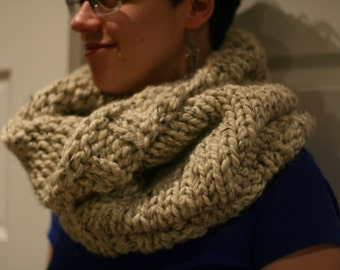 MADE TO ORDER - Hand Knit Oversized Cowl, Chunky Knit Cowl, Circle Scarf, Snood, Many Colours Available